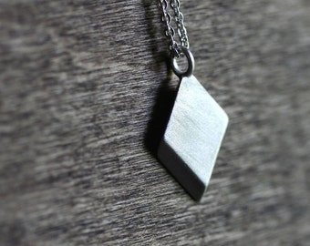 Geometric Diamond Necklace, Brushed Matte Simple Pendant Recycled Sterling Silver Necklace
