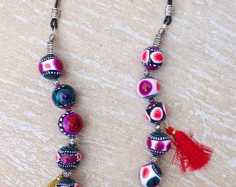 Beautiful ethnic necklace with vibrant colors, unique piece!