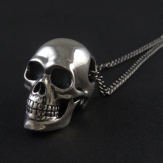 Skull necklace sterling silver human skull pendant on 24 skull necklace sterling silver human skull pendant on 24 gunmetal chain the silver skull mozeypictures Choice Image
