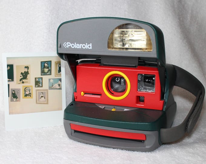 Retro Green Polaroid Express Camera With Built In Flash And Close Up Lens Upcycled with Red and Yellow