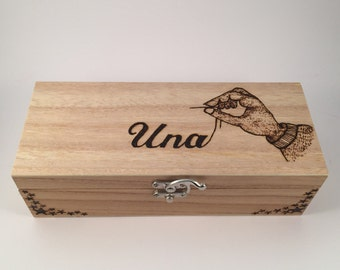 Hand crafted sewing box personalised free Mothers Day Gift