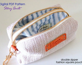 Quick and easy multipurpose double zipper square pouch digital PDF sewing pattern | double zipper pouch sewing tutorial | key wallet pattern