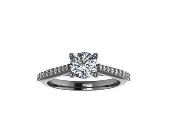 Diamond Engagement Ring Moissanite Engagement 14K Black Gold Engagement Ring with 5.5mm Round Moissanite Center Feminine Fine Jewelry- V1073