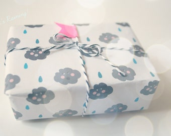 Rainy  Black Clouds Gift Wrap