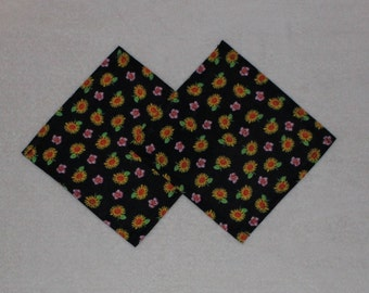 Set of 2 Adorable Black Sunflower Child's Play Kitchen Tea Party Napkins