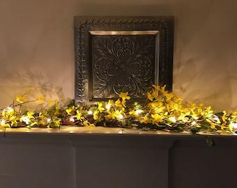 Forsythia Mantle Garland, Spring Garland, Spring Mantle Decor, Spring Fireplace Mantel, Easter, Mother's Day