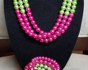 3pc Pink and Green Layered Necklace Set, AKA Pearls, AKA Necklace, Pink Layered Necklace, AKA Sorority Jewelry