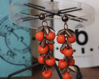Orange Fruit and Gold Leaves Post Earrings