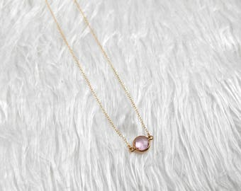 Charm Necklace   Gold Filled Necklace   Minimalist Necklace   Pink Charm Necklace   Dainty Chain Necklace   Gift For Her