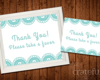 Wedding Thank You-Favor Sign- Lace- Digital- Printable