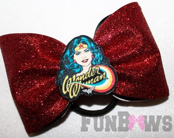Awesome Large Glitter Wonder Woman Hairbow   -  Allstar cheer bow  by Funbows