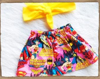 Free shipping to US and PR,Superhero skirt,Batman,Wonder Woman,Cotton skirt,superman skirt,baby,girl,toddler,infant,headband,headwrap,cotton