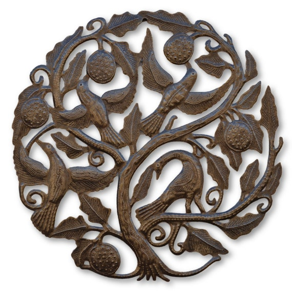 Tree of Life w/ Fruits & Birds, Haitian Quality Craftsmanship, Limited Edition 19x19