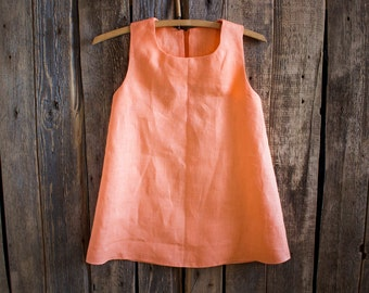 Orange Linen Dress, Flower Girl, Summer Dress, Rustic Wedding, Orange Linen, Round Neck, Country Dress, Handmade