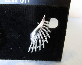 Vintage Earrings, Coro Clip On Earrings, Silver Tone, Wing Design, Collectible Jewelry