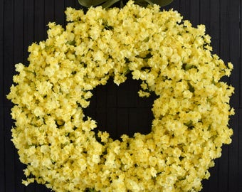 Yellow Ruffle Flower Spring and Summer Front Door Wreath
