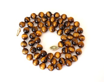 Vintage Hand Knotted Tiger Eye Necklace 26""