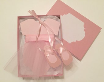 Ballerina Pink Tutu Baby Shower Invitation, with Slippers in Box, ballerina invite, tutu invitation, ballet party, ballerina birthday invite