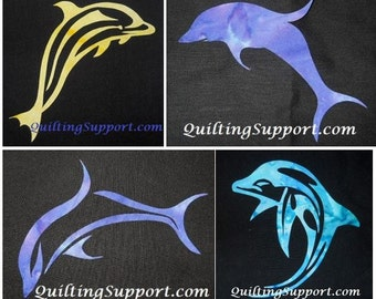 4 Dolphin Quilt Applique Patterns (Set of 4)