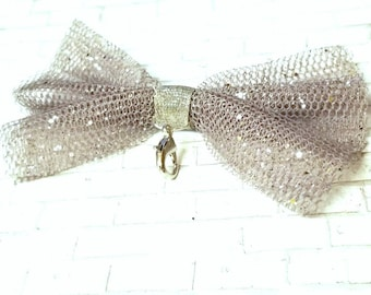Gray Glitter Bow Tux Charm - Wedding Planner Bow Charms - Tattered Bow - Bride & Groom - Grey Glam Accessories - Decorative Clip On Bow Tie
