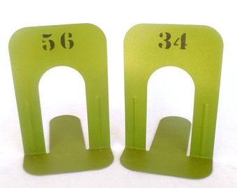 INDUSTRIAL STYLE Acid Green Repurposed Metal BOOKENDS