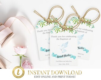 Boy Baptism Thank You Tags, Baptism Favor Tags, Christening Favor Tags, First Communion Favor Tags, Printable Tags, Gift Tags, Baptism Favor