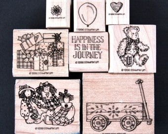 Stampin' Up Wagon Journey Wood Mounted Red Rubber Stamp Set - Country, Dolls, Teddy Bear, Cards, Scrapbooks