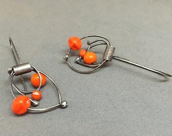 orange dangle earrings kinetic earrings oxidized sterling sculptural statement earrings whimisical vintage