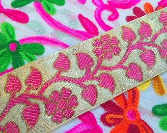 Golden Metallic Base trim Dress Ribbon Jacquard pink Floral Sari Border indian trim dress trim by the yard costume trim by the yard JRT158