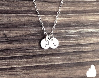 "Customized Sterling Silver 1/4"" Disc Necklace - Hand Stamped Initial - Personalized Charm - Sterling Silver Fine Cable Chain"