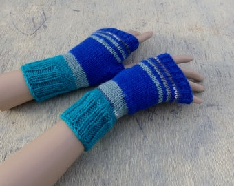 knit fingerless gloves, knitted fingerless mittens, colorful arm warmers, striped mittens, boho gloves, autumn hand warmers,  knit wear