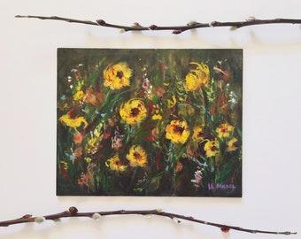 Yellow wildflower painting. Abstract floral. mixed media art. Yellow flower art. Botanical art. Floral art. Original artwork. Small art.