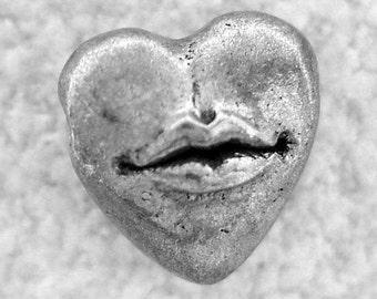Green Girl Studios Pewter Hot Lips Heart Bead