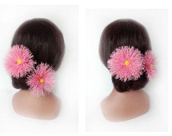 Pink Hawaiian tassel bun, engagement, quilted Hat women wedding hair comb hair pin