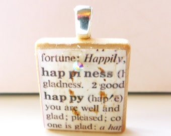 Happiness - happy - vintage dictionary Scrabble tile pendant with Swarovski crystal