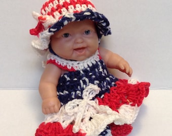 8 inch doll clothes,10 inch doll clothes, 4th of July Red White and Blue Doll clothes. Hat Dress Shoes