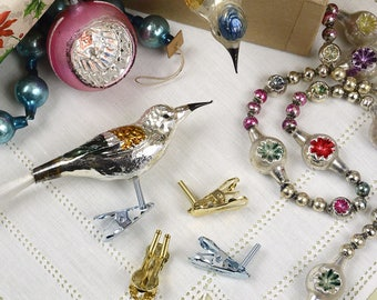 Bird Leg Ornament Clips, Replacements for Glass Christmas Bird Ornaments with Two Legs, Made in Germany - Gold or Silver, set of 2 pcs.