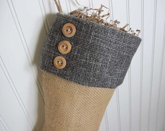 Dark blue shabby chic Christmas Stocking with 3 buttons