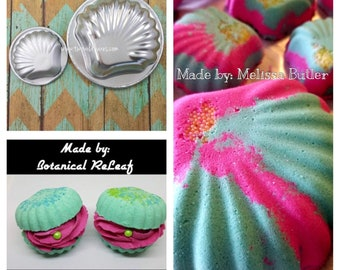 "CLAMSHELL Bath Bomb Mold Set, Metal, Large & Small Clam Mold, 4"" and 2 1/4"", Two Wild Hares"