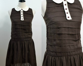 Small | Brown | Peter Pan Collar | Vintage 1960s Vicky Vaughn Drop Waist Sleeveless Sundress 60s Eyelet Collar Marcia Brady Dress