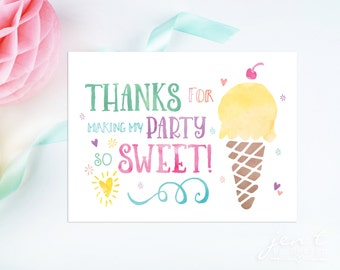 Watercolor Ice Cream Thank You Notes
