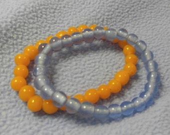 Vintage Bead Bracelets~Handmade Tangerine Glass Beads and Very Light Blue, Elastic