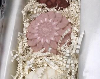 Goat Milk Soap Gift  Boxed Set- Dahlia flower shaped ombre colored goat milk soap - gift box and ribbon
