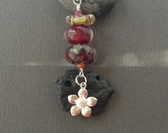 Lampwork Glass Necklace, Boro Glass Bead, Borosilicate Bead, Kiln Fired Bead, Glass Bead Necklace, Boro Bead Necklace