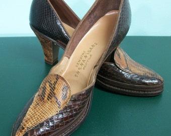 1950s Deadstock Shoes . Shenaigans Reptile Shoes in Original Box . 7AAAA