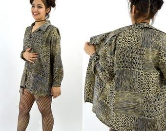 Vintage 1980's black and tan abstract long Secretary blouse - fun summer top - novelty print shirt - size medium to large