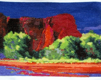 Southwest Scenery Completed Cross Stitch Design