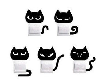 Sticker cat switch decoration (set of 5)