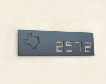 The Geek- Custom Address Sign - Rectangular plaque with Design - House numbers Sign -  Horizontal or Vertical Address Signs  - Steel
