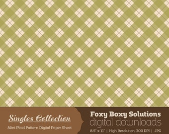 Instant Download Green Plaid Printable Digital Paper for Scrapbooking - Digital Download Supply - Rustic Shabby Chic Digital Background